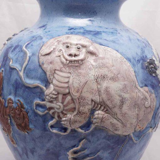 Japanese pottery vase lion