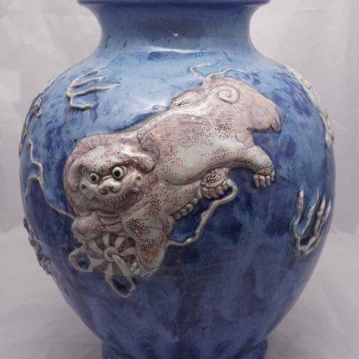 Japanese pottery vase lion dog