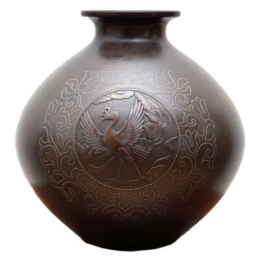 an inlaid bronze vase