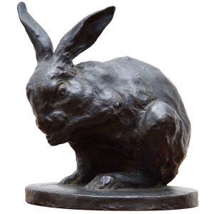 signed bronze rabbit