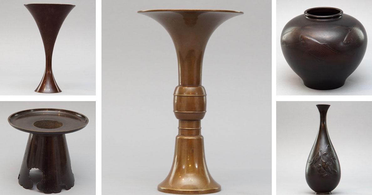 Japanese bronze vases