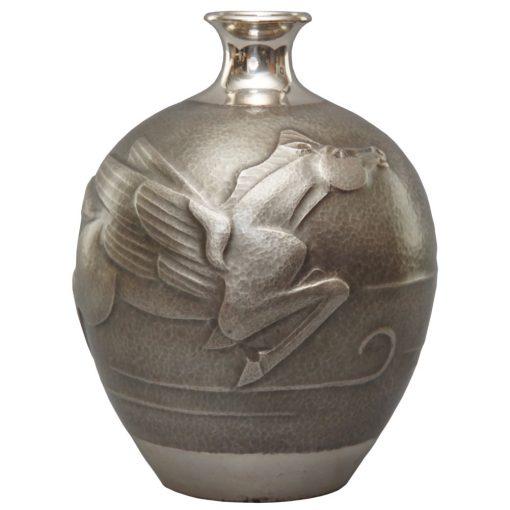 Taisho silver vase