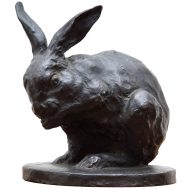 signed bronze rabbit
