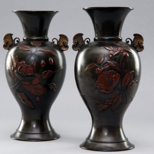 Meiji bronzes pair2
