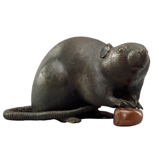 Meiji bronze rat