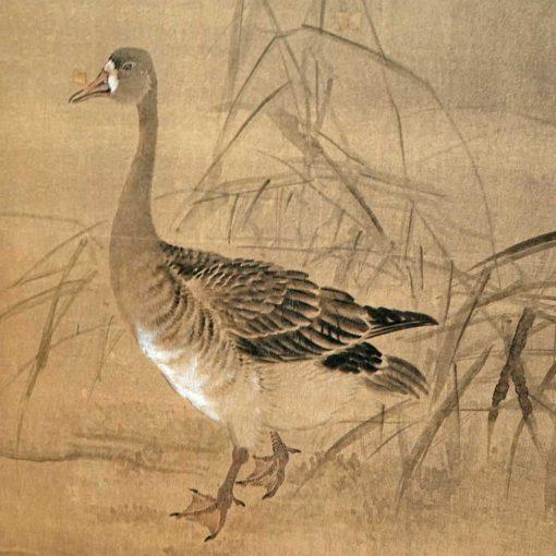 Geese taisho screen detail